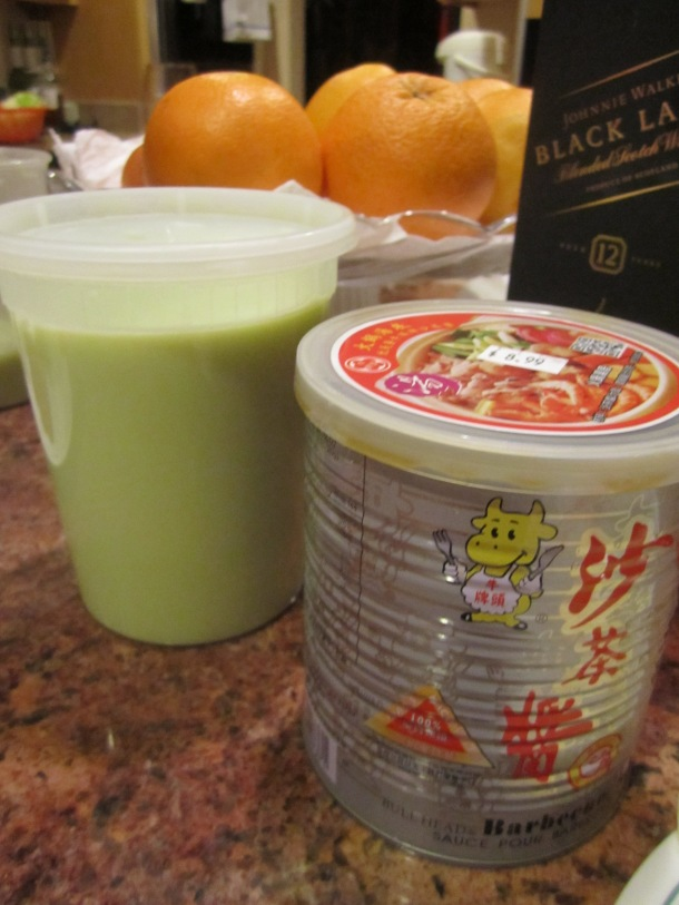 Soy milk on the right, prawn paste on the right