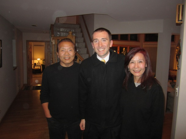 My gracious hosts, Mr. and Mrs. Wu, and I