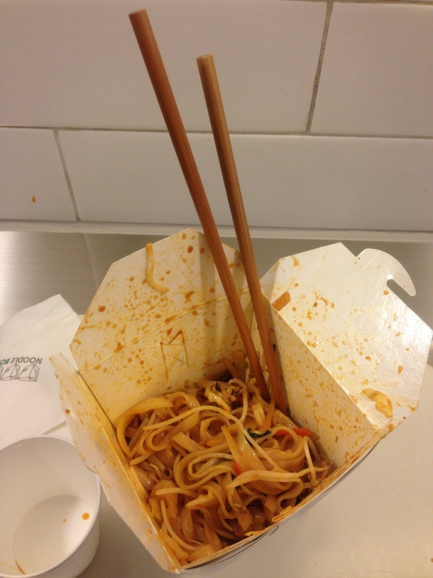 Cultural Note: Even though it's a great pic, sticking chopsticks in food like this is considered impolite.