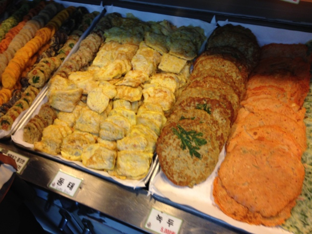 Some of the pajeon or Korean pancakes of egg or kimchi