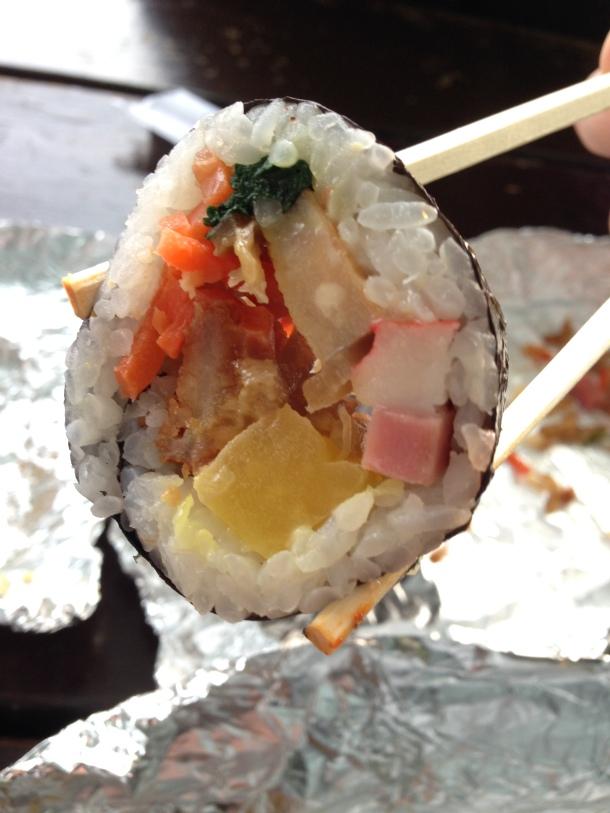 Fried pork kimbap