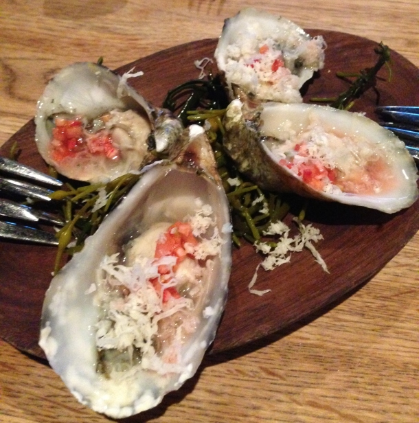 Woodpoint fired oysters