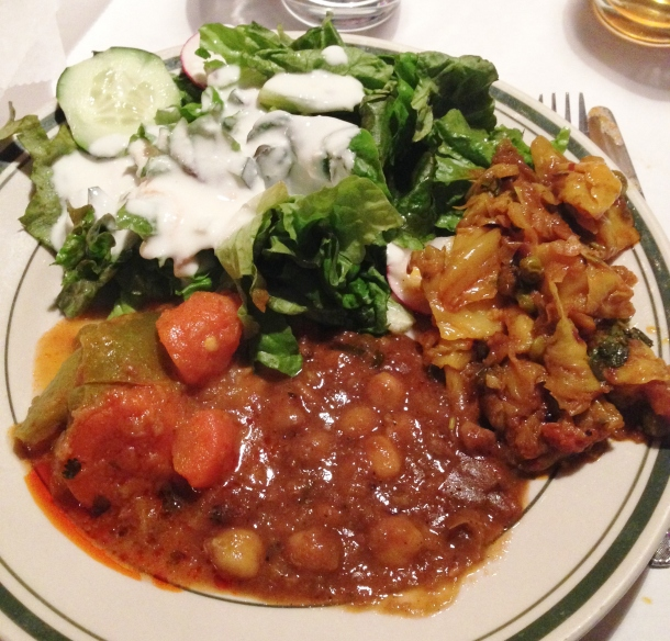 Clockwise: green salad, eggplant, lentils, vegetables